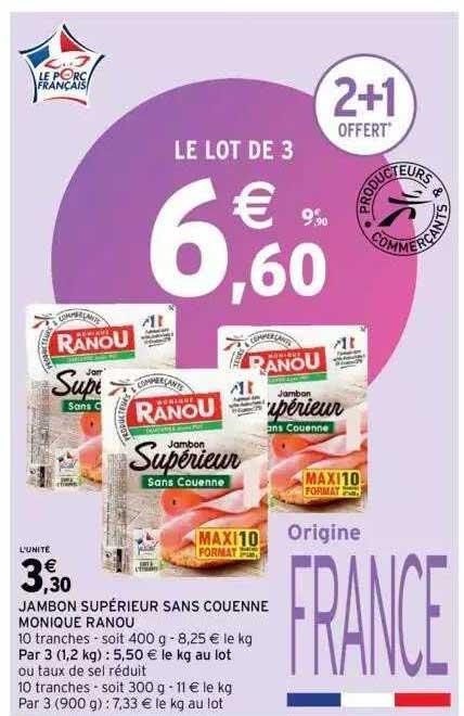 Intermarché Jambon Supérieur Sans Couenne Monique Ranou