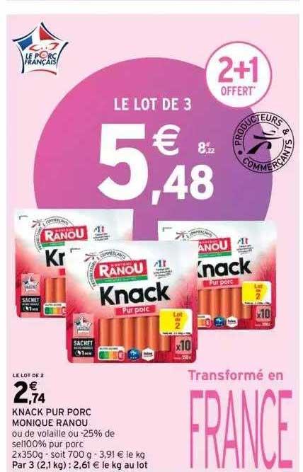 Intermarché Knack Pur Porc Monique Ranou