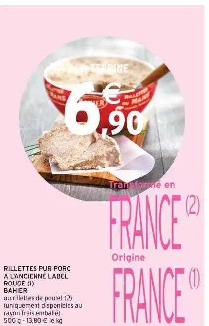 Intermarché Rillettes Pur Porc à L'ancienne Label Rouge Bahier