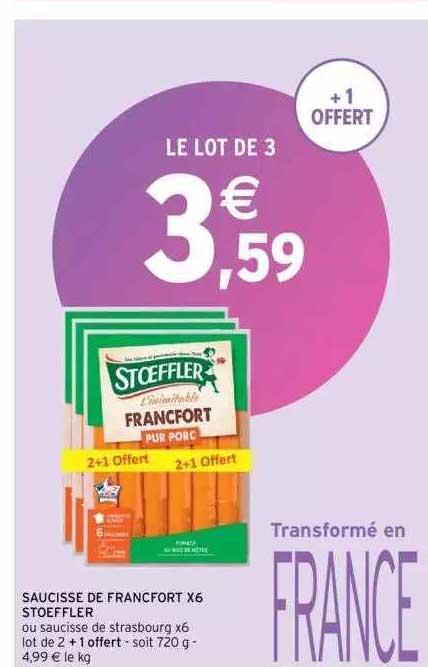 Intermarché Saucisse De Francfort X6 Stoeffler