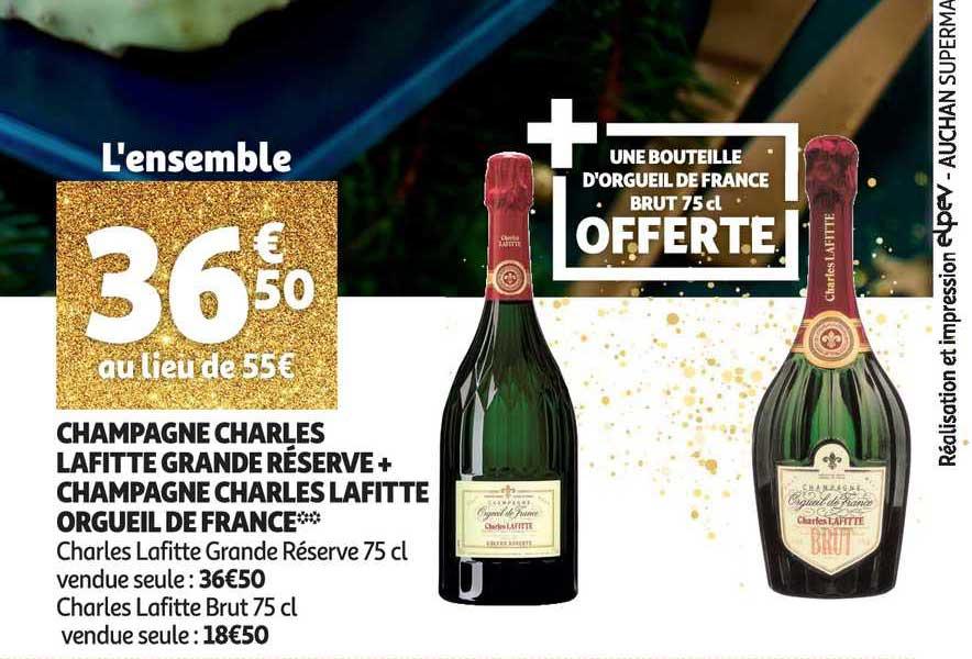 Auchan Direct Champagne Charles Lafitte Grande Réserve + Champagne Charles Lafitte Orgueil De France