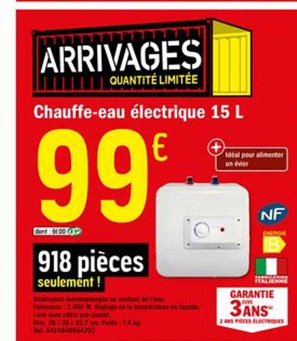 Offre Chauffe Eau Electrique 15 Litres Chez Brico Depot