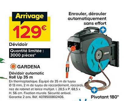Castorama Dévidoir Automatic Roll Up 35 M Gardena