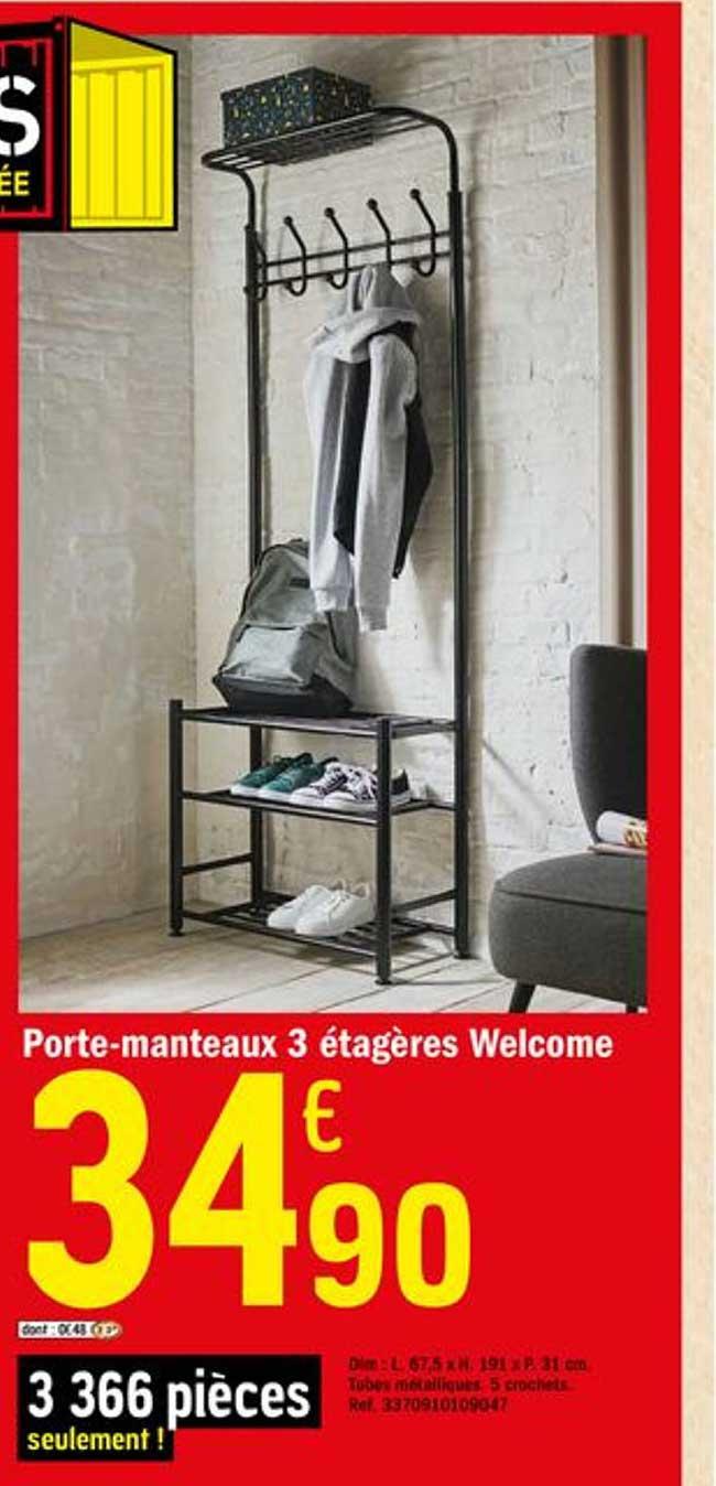 Offre Porte Manteaux 3 Etageres Welcome Chez Brico Depot