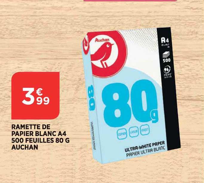 Bi1 Ramette De Papier Blanc A4 500 Feuilles 80 G Auchan