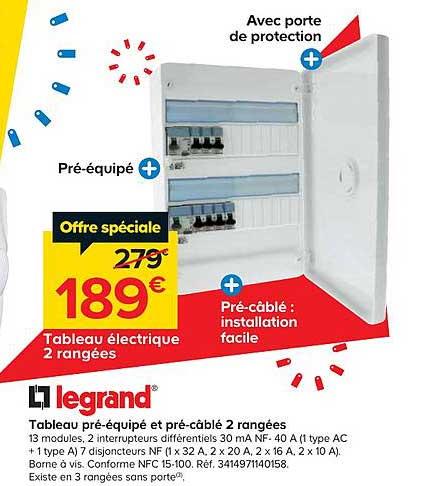 Offre Tableau Pre Equipe Et Pre Cable 2 Rangees Legrand Chez Castorama