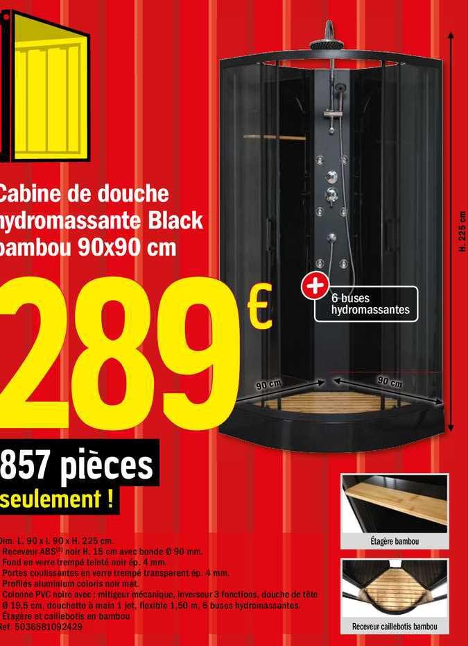 Brico Dépôt Cabine De Douche Hydromassante Black Bambou 90x90 Cm