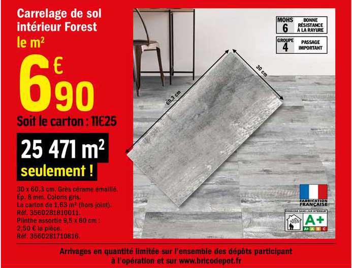 Offre Carrelage De Sol Interieur Forest Chez Brico Depot