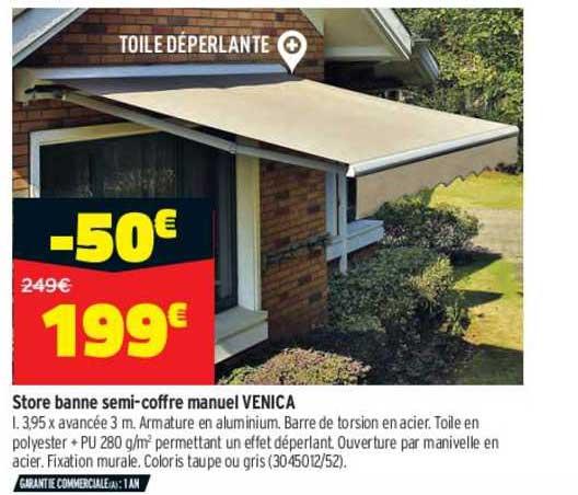 Offre Store Banne Semi Coffre Manuel Venica Chez Bricorama