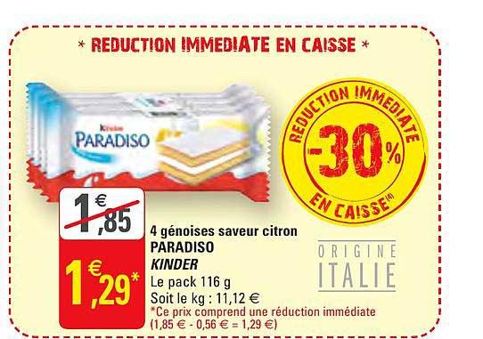 G20 4 Génoises Saveur Citron Paradiso Kinder -30% Réduction Immédiate