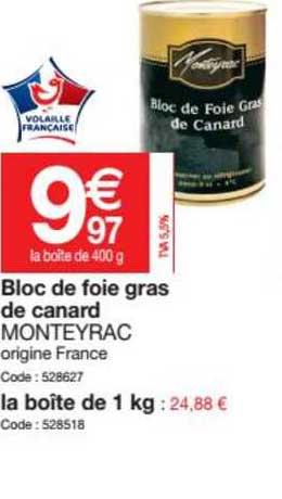 Promocash Bloc De Foie Gras De Canard Monteyrac