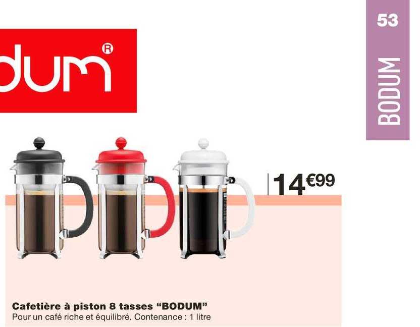 Monoprix Cafetière à Piston 8 Tasses Bodum