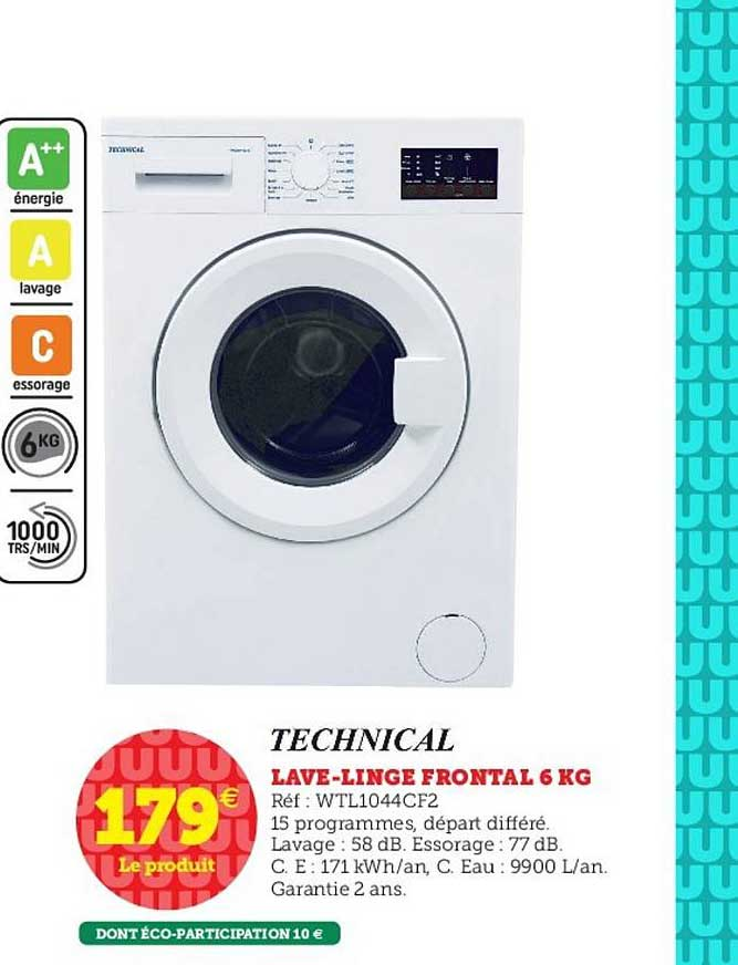 Hyper U Lave Linge Frontal 6 Kg Technical