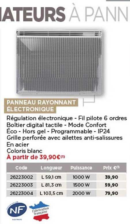 Offre Panneau Rayonnant Electronique Chez Bricomarche