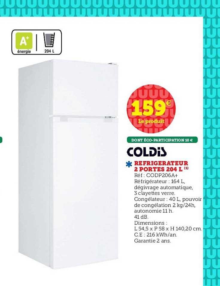 Hyper U Réfrigérateur 2 Portes 204 L Coldis