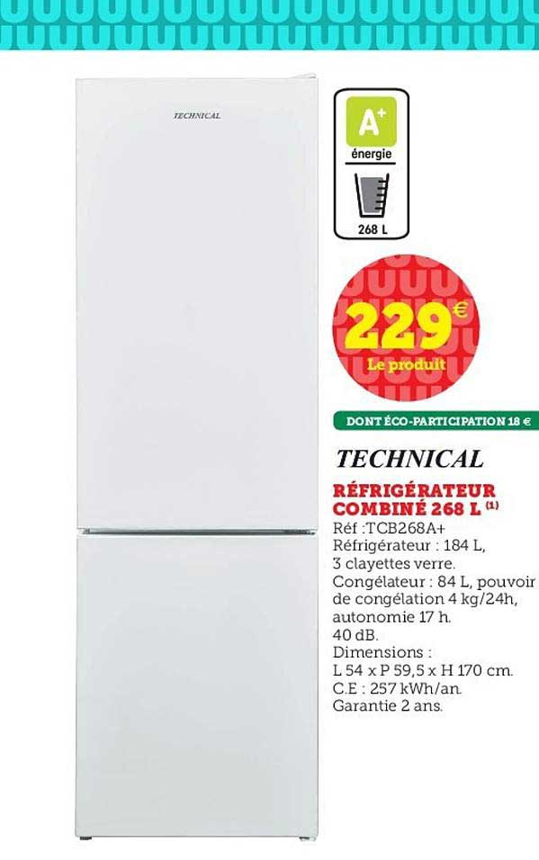 Hyper U Réfrigérateur Combiné 268 L Technical