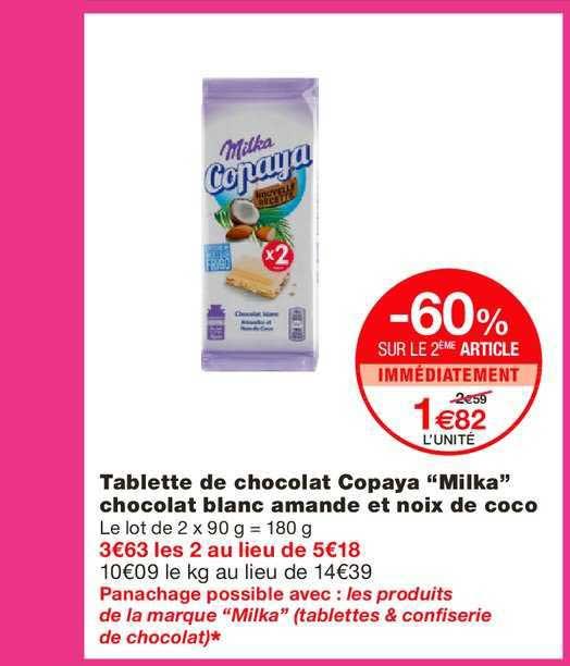 Monoprix Tablette De Chocolat Copaya Milka -60% Sur Le 2e