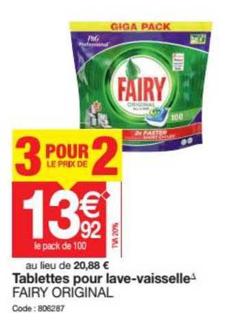 Promocash Tablettes Pour Lave Vaisselle Fairy Original 3 Pour Le Prix De 2