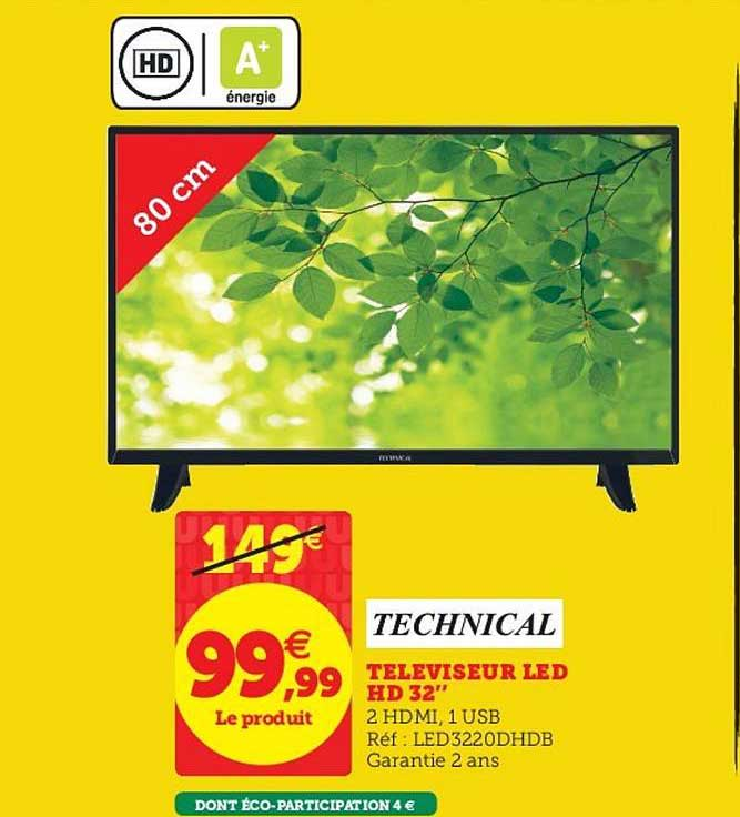 Hyper U Téléviseur Led Hd 32'' Technical
