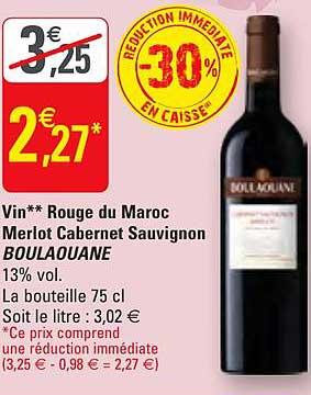 G20 Vin Rouge Du Maroc Merlot Cabernet Sauvingnon Boulaouane -34% Réduction Immédiate