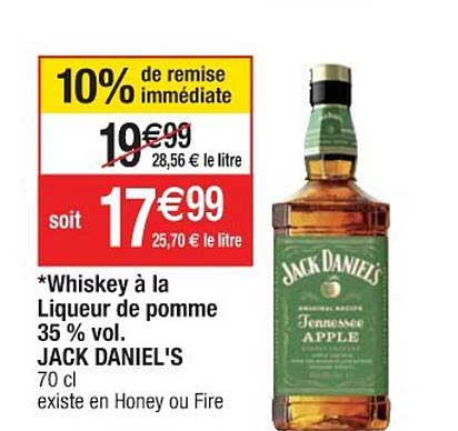 Cora Whiskey à La Liqueur De Pomme 35% Vol. Jack Daniel's 10% De Remise Immédiate