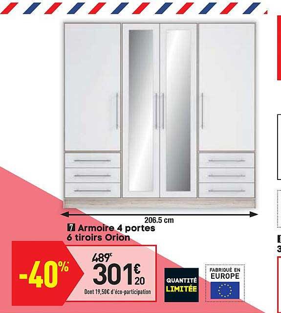 Offre Armoire 4 Portes 6 Tiroirs Orion Chez Conforama