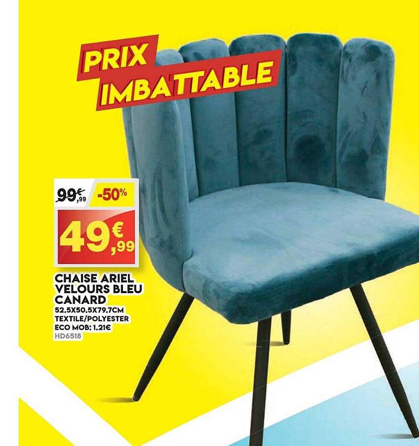 Maxi Bazar Chaise Ariel Velours Bleu Canard
