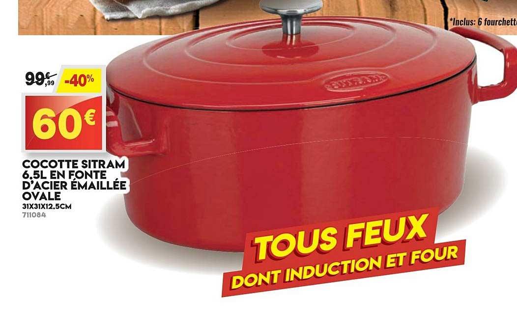 Maxi Bazar Cocotte Sitram 6.5l En Fonte D'acier émaillée Ovale