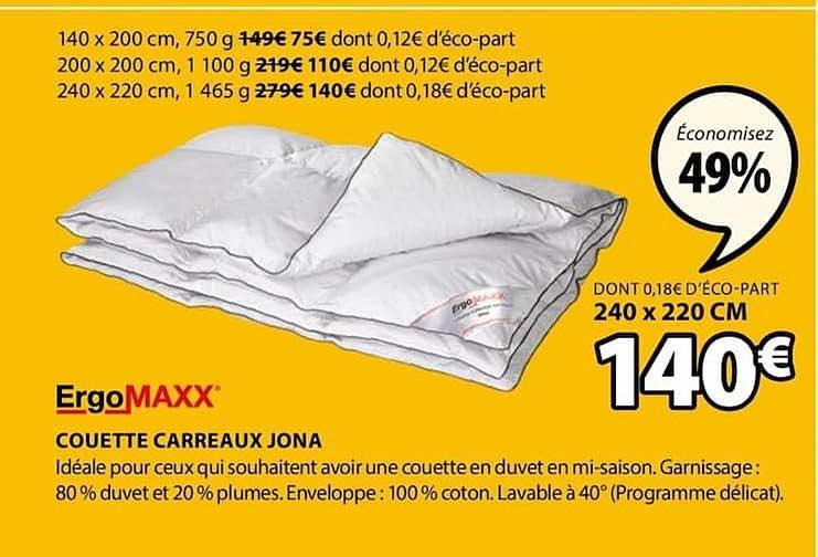 JYSK Couette Carreaux Jona Ergomaxx