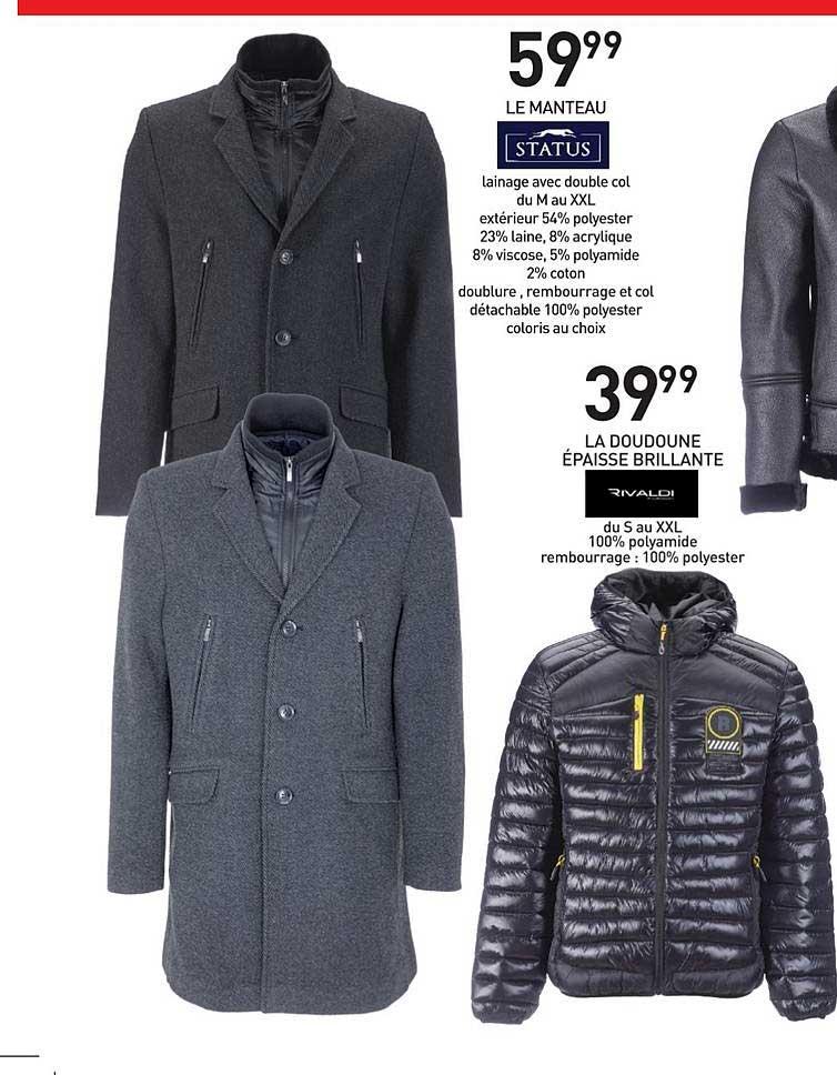 manteau status homme prix