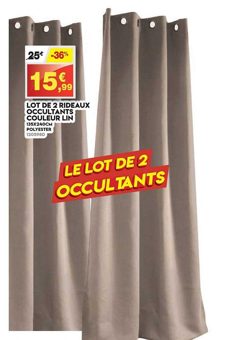 Maxi Bazar Lot De 2 Rideaux Occultants Couleur Lin