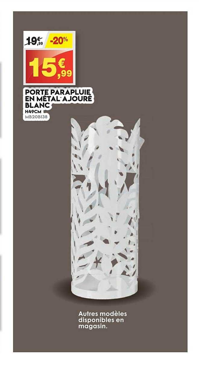Maxi Bazar Porte Parapluie En Métal Ajoure Blanc
