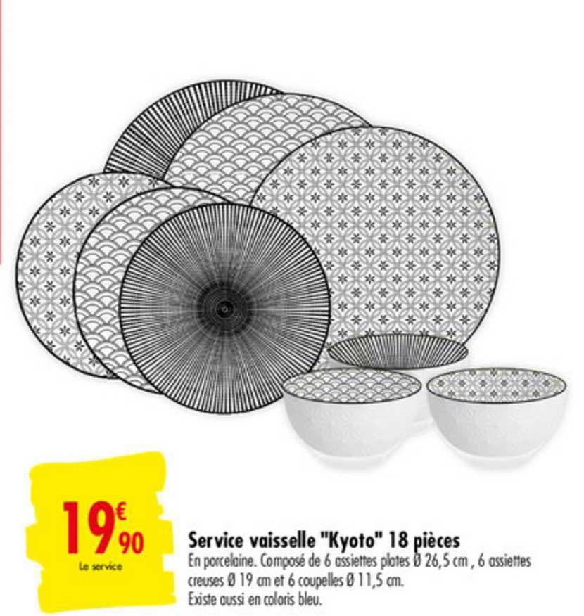 Carrefour Market Service Vaisselle Kyoto 18 Pièces