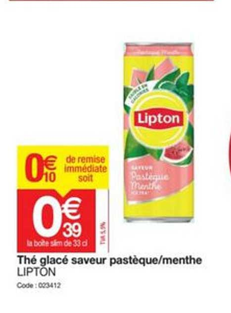 Promocash Thé Glacé Saveur Pastèque Menthe Lipton