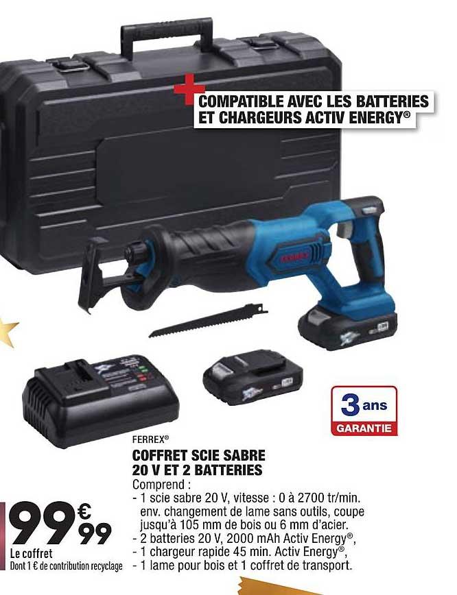 Aldi Coffret Scie Sabre 20 V Et 2 Batteries Ferrex