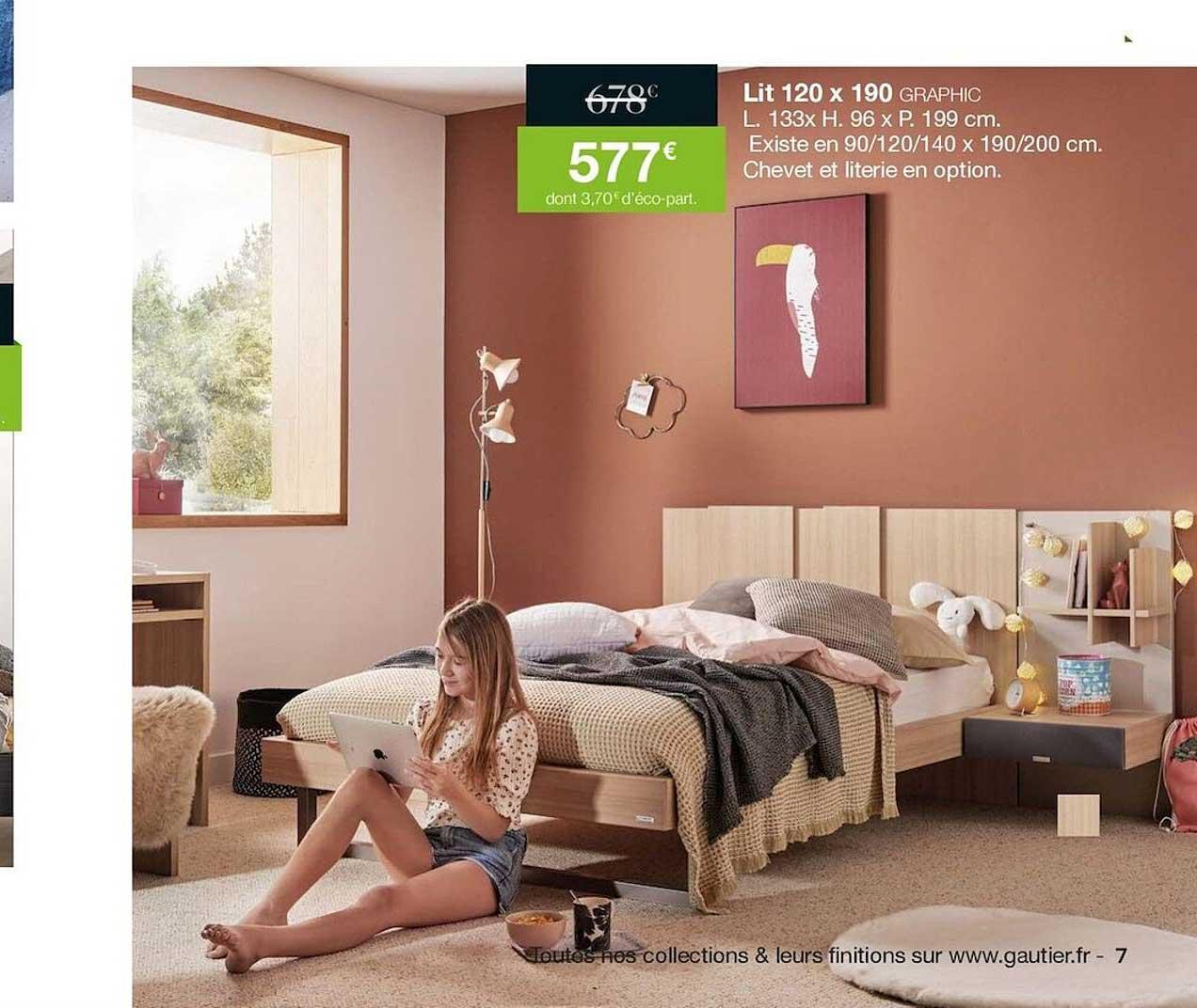 Gautier Lit 120 X 190 Graphic