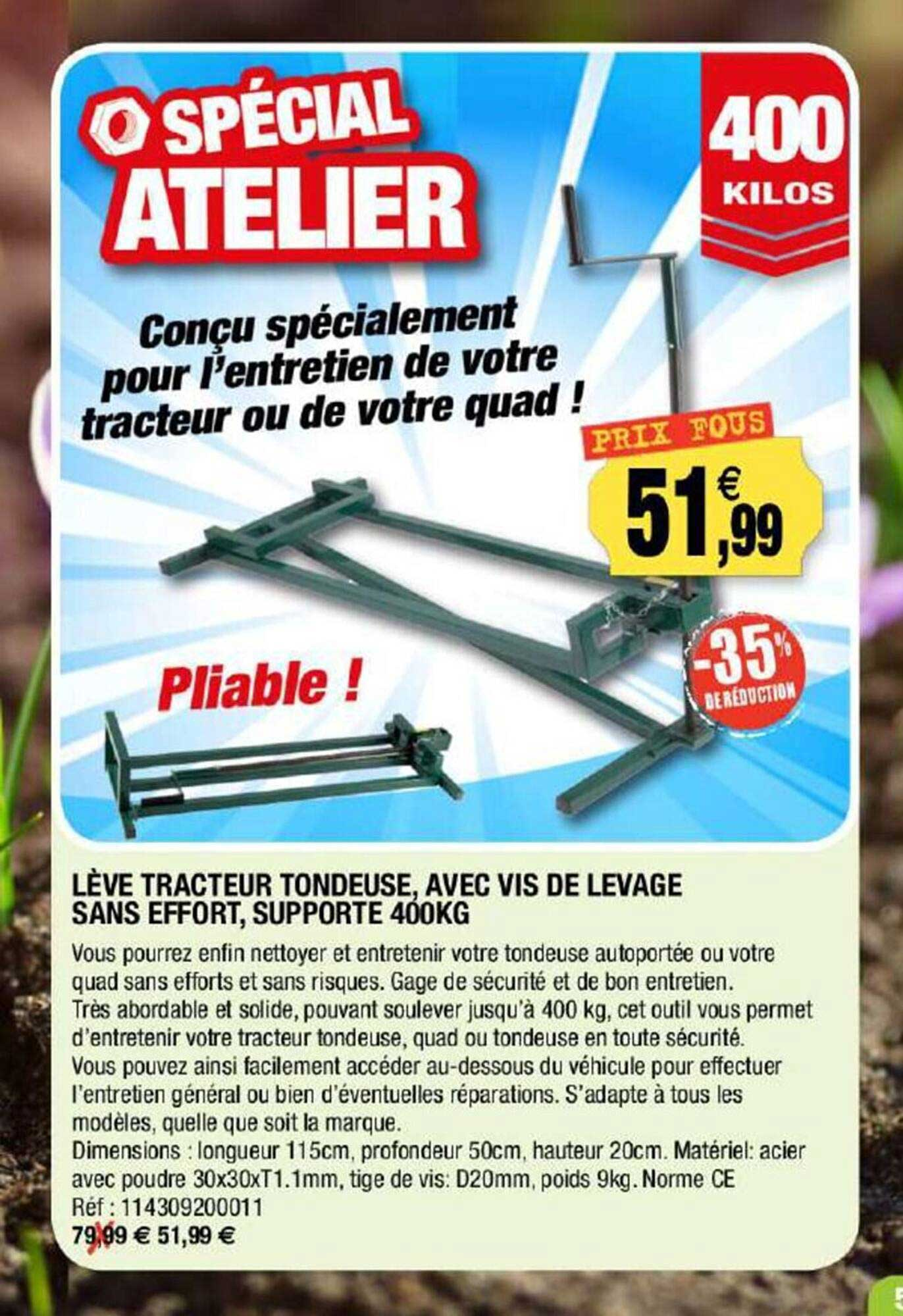 Outiror Lève Tracteur Tondeuse, Avec Vis De Levage Sans Effort, Supporte 400 Kg