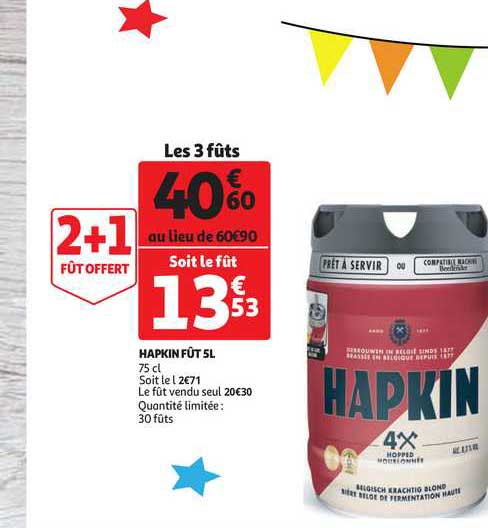 Auchan Direct Hapkin Fût 5l 2+1 Offert