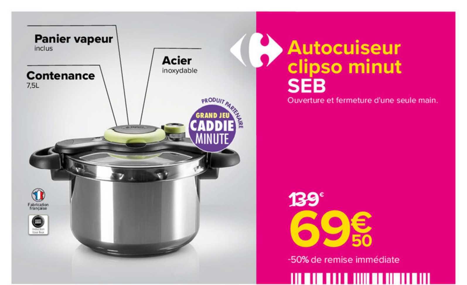 Carrefour Autocuiseur Clipso Minut Seb
