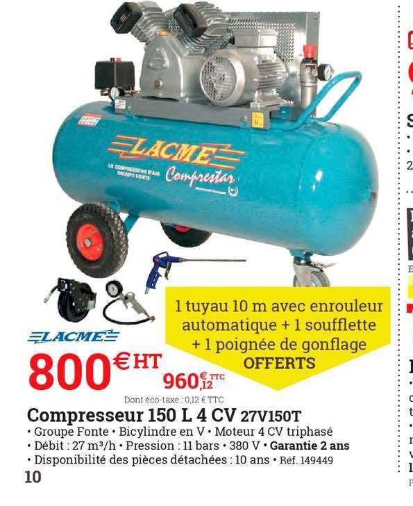ESPACE EMERAUDE Compresseur 150 L 4 Cv 27v150t