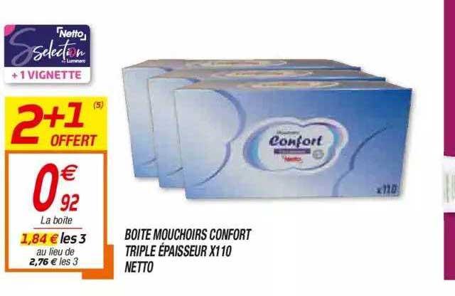 Netto Boîte Mouchoirs Confort Triple épaisseur X110 Netto