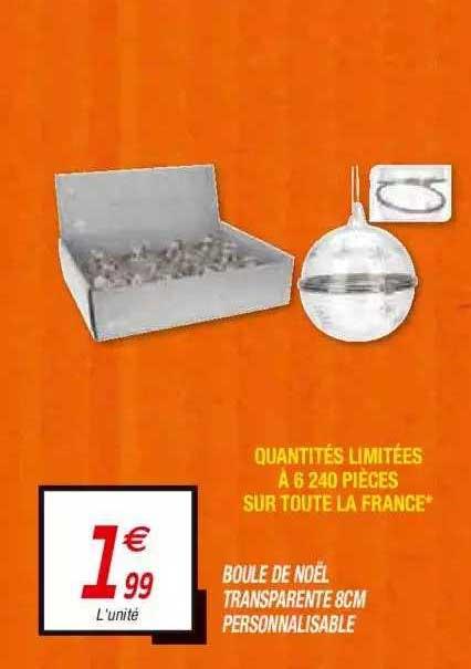 Netto Boule De Noël Transparente 8 Cm Personnalisable