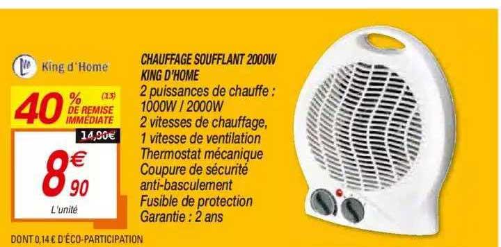 Netto Chauffage Soufflant 2000w King D'home
