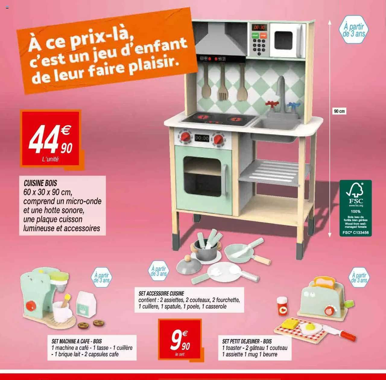 Netto Cuisine Bois, Set Machine à Café - Bois, Set Accessoire Cuisine, Set Petit Déjeuner - Bois