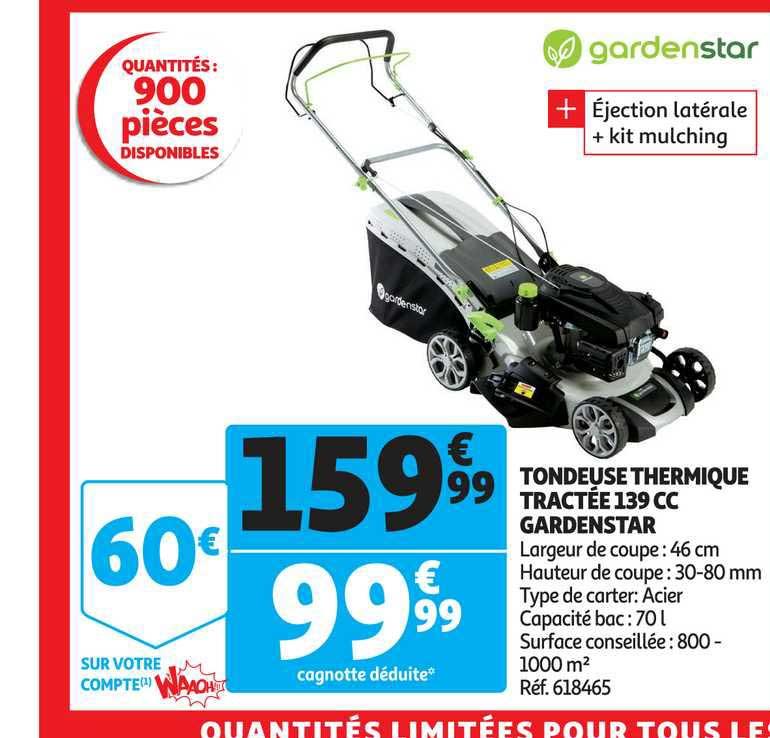 Auchan Tondeuse Thermique Tractée 139 Cc Gardenstar