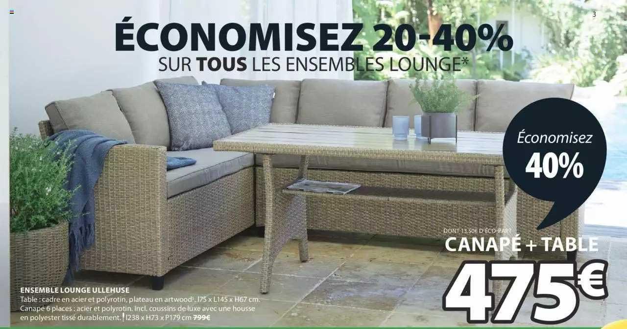 JYSK Ensemble Lounge Ullehuse : Canapé + Table