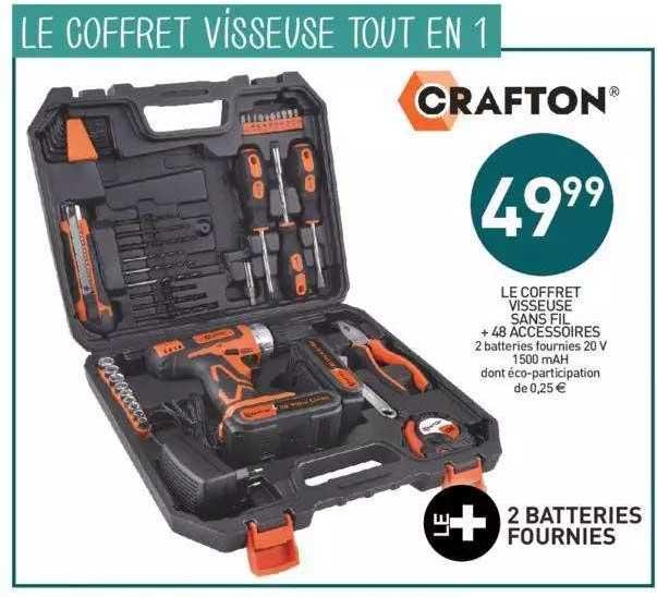 Stokomani Le Coffret Visseuse Sans Fil + 48 Accessoires Crafton