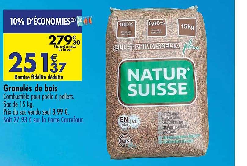 Carrefour Granulés De Bois Natur Suisse
