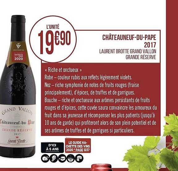 Casino Supermarchés Châteauneuf Du Pape 2019 Laurent Brotte Grand Vallon Grande Réserve
