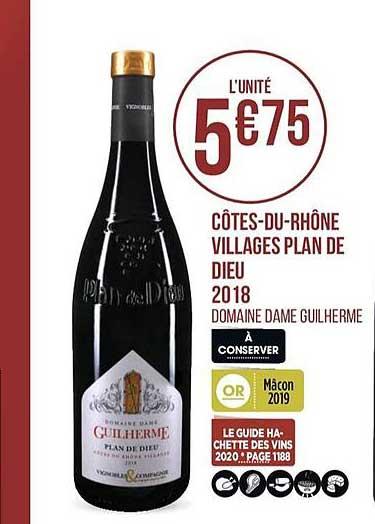 Casino Supermarchés Côtes Du Rhône Villages Plan De Dieu 2018 Domaine Dame Guilherme